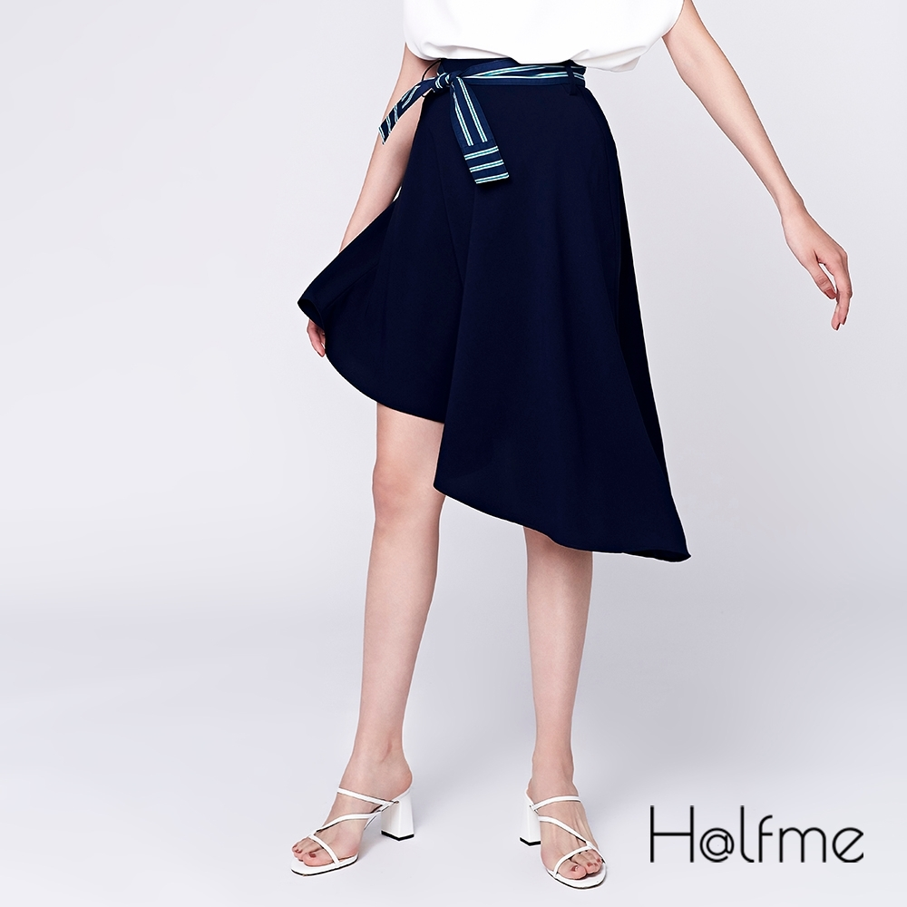 Halfme-條紋綁帶及膝裙-女