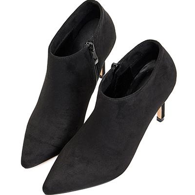 AIR SPACE 歐美時尚絨布尖頭高跟鞋(黑)