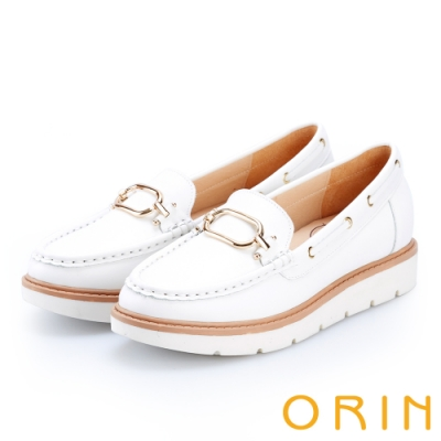 ORIN 復古樂活主義 簡約方扣牛皮厚底帆船鞋-白色