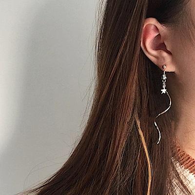 Hera 赫拉 波浪線條天然石五角星耳環