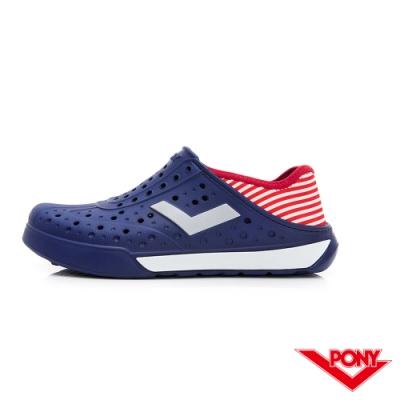 【PONY】ENJOY輕量透氣洞洞鞋 雨鞋 懶人鞋 涼鞋 男女鞋 國旗配色深藍/紅