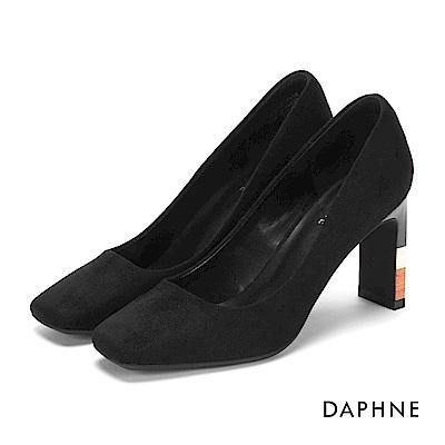 達芙妮DAPHNE 高跟鞋-絨布木紋拼色方頭高跟鞋-黑
