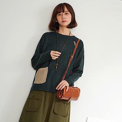 慢 生活 輕文藝口袋拼接柔軟針織衫- 紅/深綠