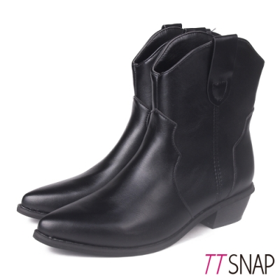 TTSNAP中筒靴-韓版尖頭顯瘦保暖中跟靴 黑