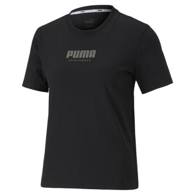 PUMA-女性基本系列Fusion短袖T恤-黑色-亞規