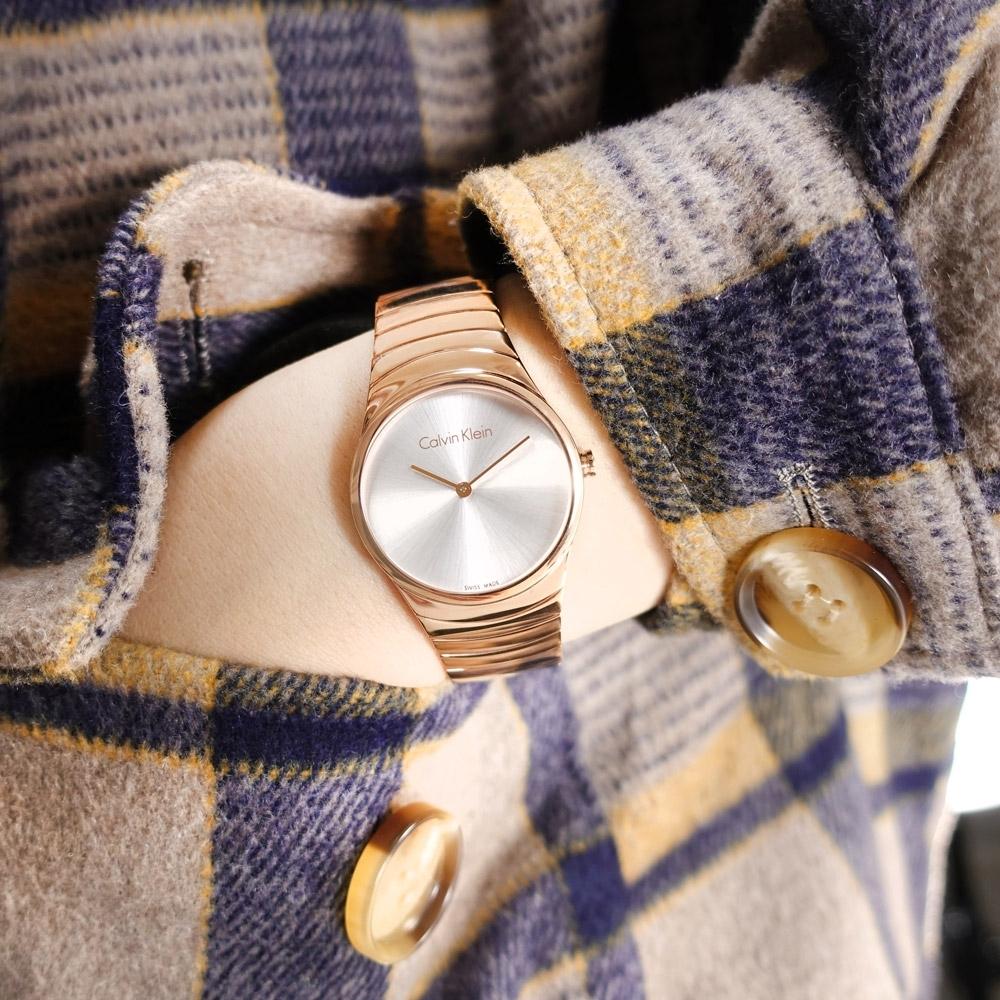 CK 極簡風格 細緻迷人 礦石強化玻璃 不鏽鋼手錶-銀x鍍玫瑰金/33mm