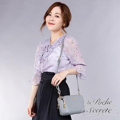 La Poche Secrete側背包 簡約時尚真皮雙拉鍊側斜背包-寧靜藍