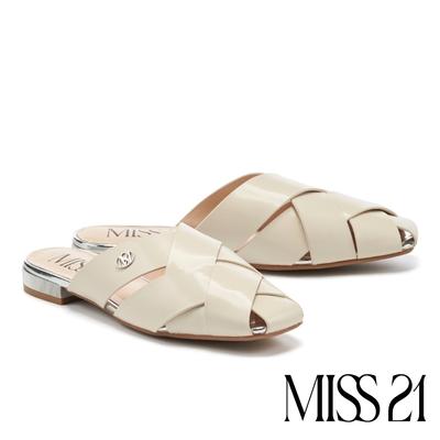 穆勒鞋 MISS 21 慵懶質感光澤開邊珠粗編織方頭低跟穆勒拖鞋-米