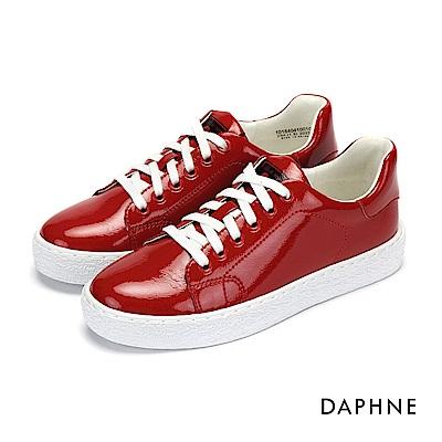 達芙妮DAPHNE 休閒鞋-復古漆皮亮面綁帶休閒鞋-紅