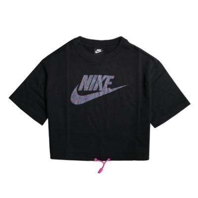 Nike T恤 NSW Icon Clash Top 女款 運動休閒 短版 抽繩 街頭穿搭 流行 黑 彩 CJ2276010