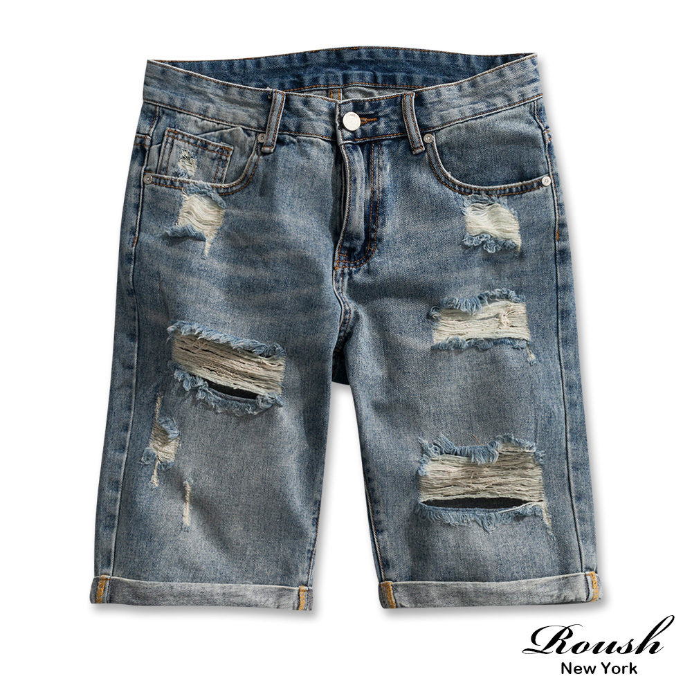 Roush 刷破水洗破壞反摺牛仔短褲