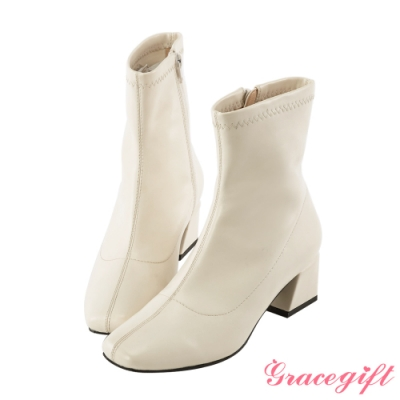 Grace gift-微方頭造型中跟短靴 白