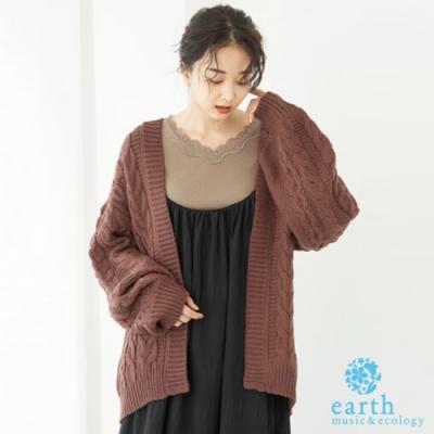 earth music 麻花編織中長版蓬袖開襟針織罩衫