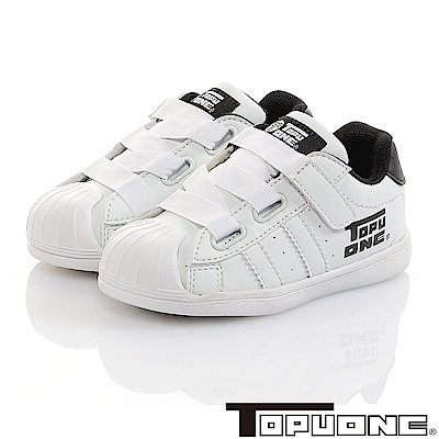 TOPUONE童鞋 彈性輕量抗菌防臭減壓防滑休閒鞋-白
