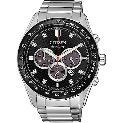 CITIZEN星辰 光動能 亞洲限定三眼計時男錶(CA4454-89E)-黑/43mm