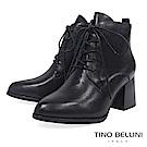 Tino Bellini時髦尖楦全真皮綁帶高跟短靴_黑