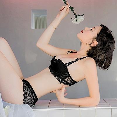 成套~性感蕾絲蝴蝶結內衣-OB大尺碼