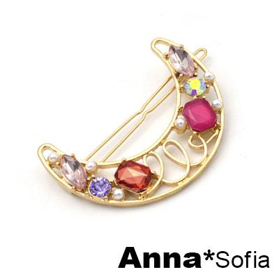 AnnaSofia 彩晶綣線朧月 純手工小髮夾邊夾(紅晶系)