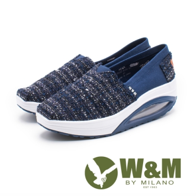W&M BOUNCE 多色編織 厚底休閒女鞋-藍(另有灰、粉)