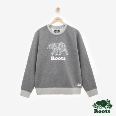 男裝ROOTS 動物系列刷毛圓領上衣-灰色