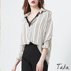 直條拼接蕾絲襯衫 共二色 TATA