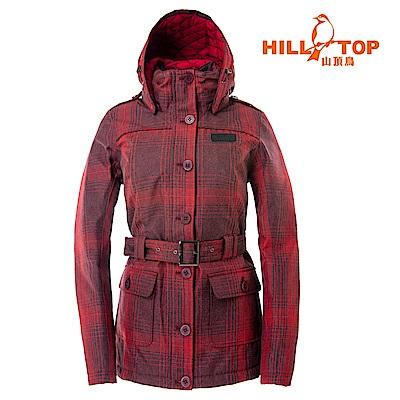 【hilltop山頂鳥】女款格紋防水蓄熱羽絨短大衣F22FZ0皇家暗紅