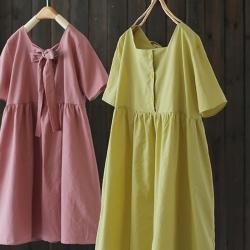 蝴蝶結方領短袖棉麻中長洋裝-設計所在