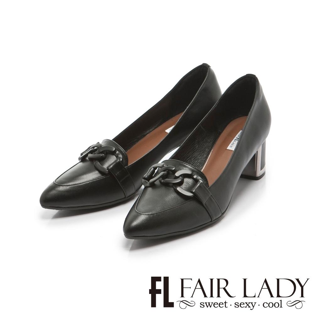 FAIR LADY 優雅小姐Miss Elegant 鏈條飾釦真皮尖頭粗跟鞋 黑