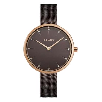 OBAKU 晶鑽雋永時尚腕錶-棕(V233LXVNMN)/30mm
