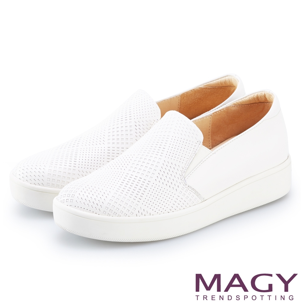 MAGY 幾何凹洞真皮厚底 女 休閒鞋 白色
