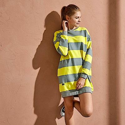 CACO-彩條寬鬆圓領洋裝-(兩色)-女【RAR072】