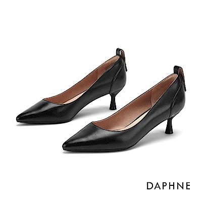 達芙妮DAPHNE 高跟鞋-柔軟真皮時尚尖頭高跟鞋-黑