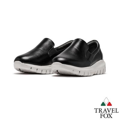 TRAVEL FOX(女)無極限 三角牛皮直套寬楦鋼琴高底樂福鞋 -白底黑