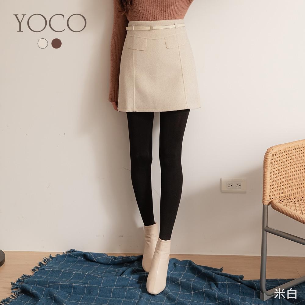 東京著衣-YOCO 甜美可愛假口袋附腰帶磨毛A字短裙-S.M.L