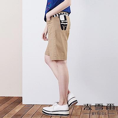 【麥雪爾】純棉條紋拼布鬆緊綁帶五分褲