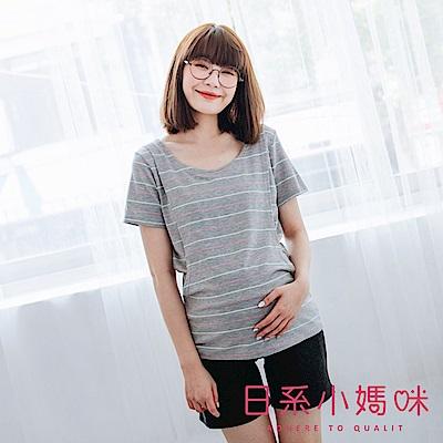 日系小媽咪孕婦裝-台灣製哺乳衣~親膚柔棉彩色線條套裝 M-L (共二色)