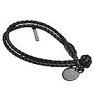 BOTTEGA VENETA 經典編織小羊皮雙繩手環(黑-小)