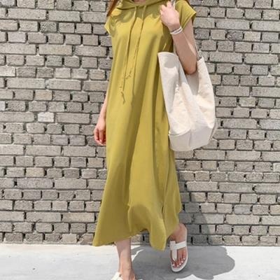 La Belleza素色連帽抽繩側口袋側開叉棉質連身背心洋裝