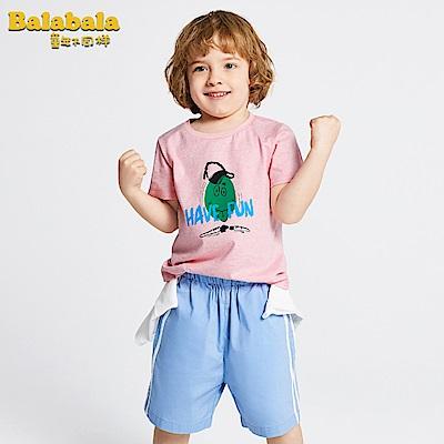 Balabala巴拉巴拉-活潑俏皮蛋頭小子印花短袖T恤-男(3色)