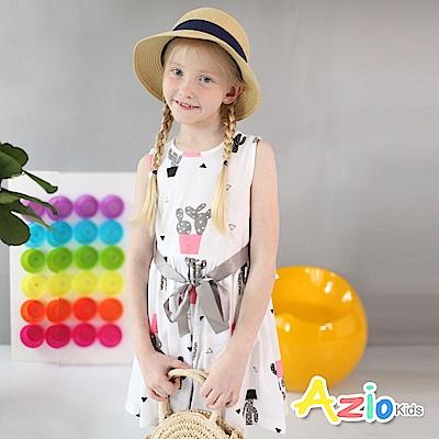 Azio Kids 童裝-洋裝 仙人掌盆栽配色綁帶無袖洋裝(粉)