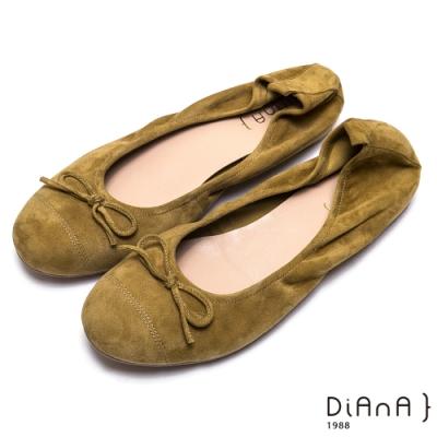 DIANA 羊几皮蝴蝶結細緻車線娃娃鞋-氣質優雅-黃