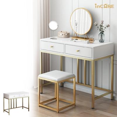 【Incare】簡約網美雙抽屜化妝桌/梳妝台(不含鏡子/80*40*78cm)