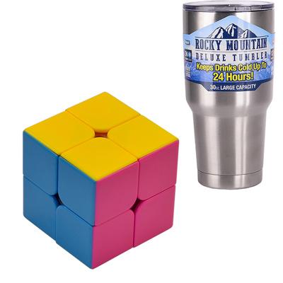 《專業競技版》2X2面魔術方塊(贈矽油及破解公式)+冰霸杯組