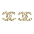 CHANEL 鍊帶造型雙C LOGO水鑽裝飾耳環(香檳金)