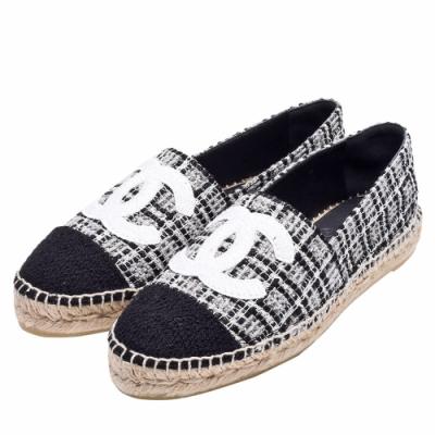 CHANEL 經典Espadrilles小香LOGO斜紋軟呢鉛筆鞋(黑)