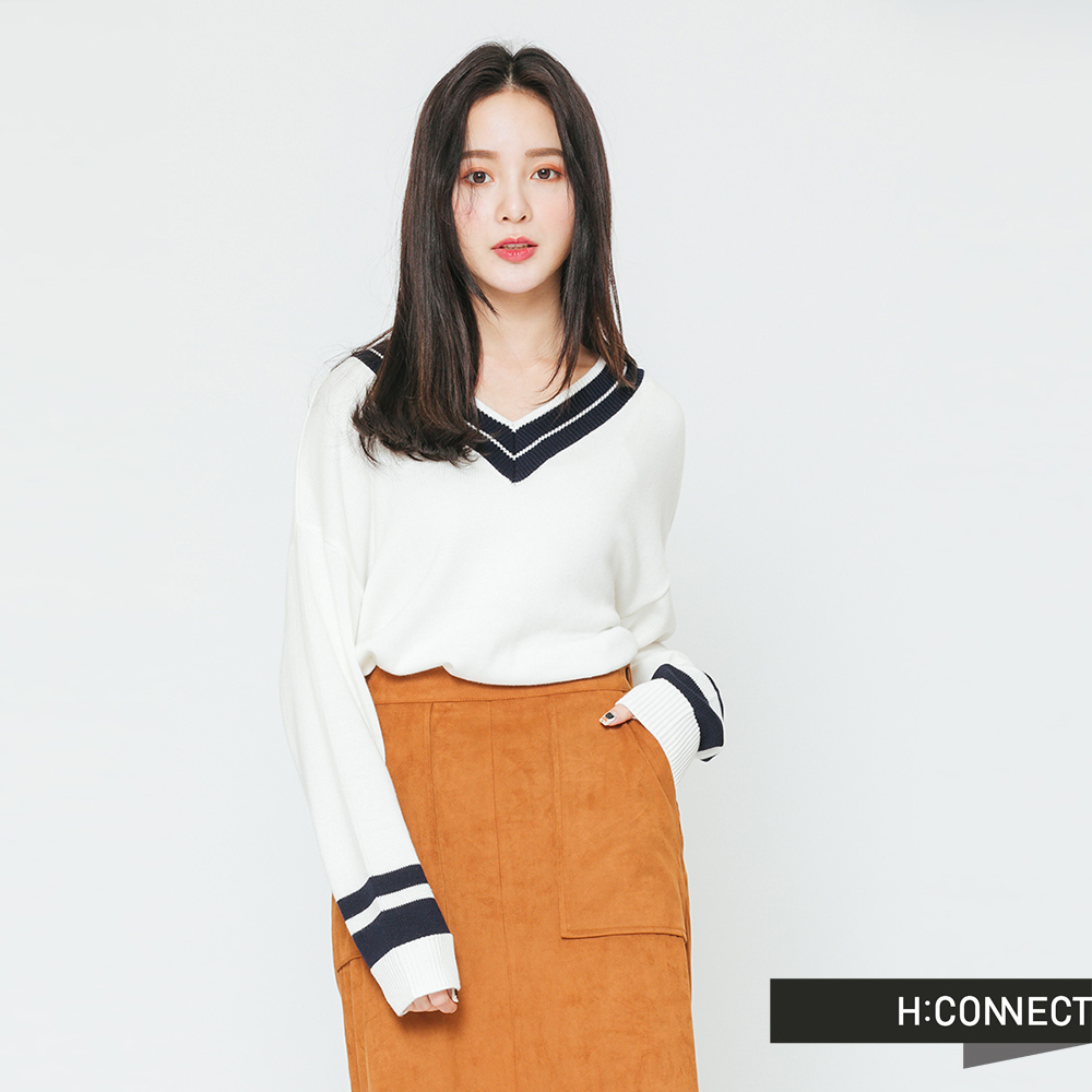 H:CONNECT 韓國品牌 女裝-學院感V領針織上衣-白