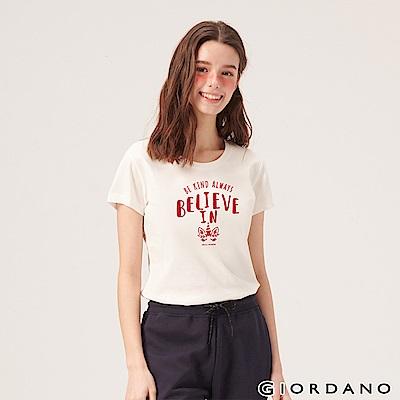 GIORDANO 女裝夢幻獨角獸系列印花T恤-21 皎雪