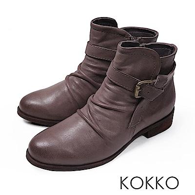 KOKKO-極致品味真皮抓皺平底短靴-紳士灰