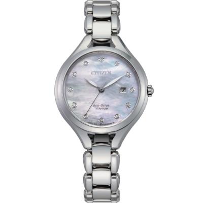 CITIZEN星辰 LADY S光動能典雅簡約腕錶(EW2560-86D)灰藍色/30mm
