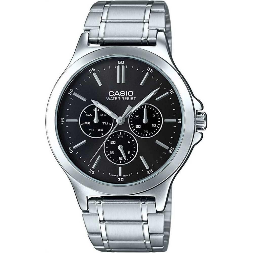 CASIO 三針三眼復刻不鏽鋼腕錶(MTP-V300D-1A)-黑/41mm